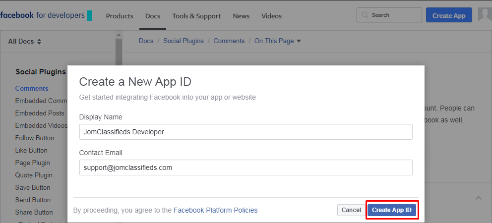 facebook create new app id