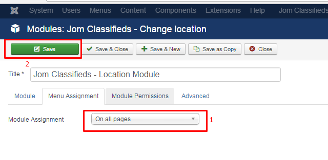 location modules pages