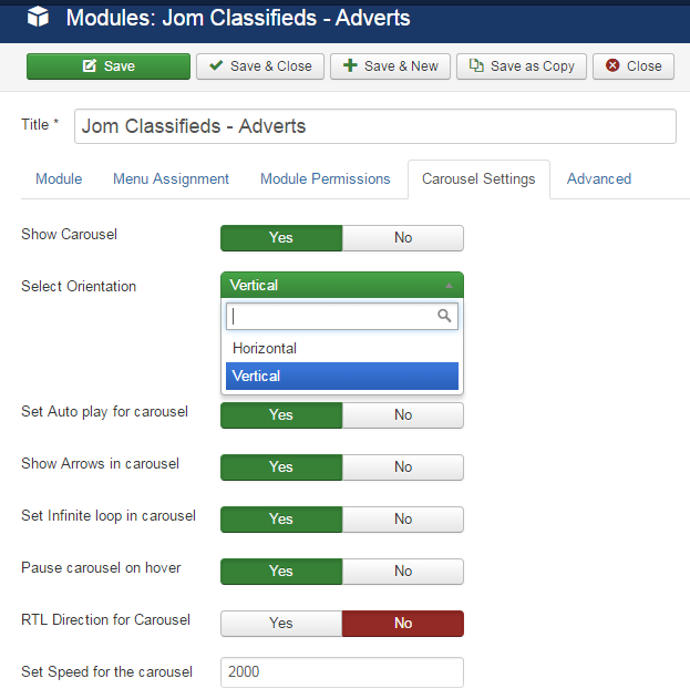 Adverts module carousel settings