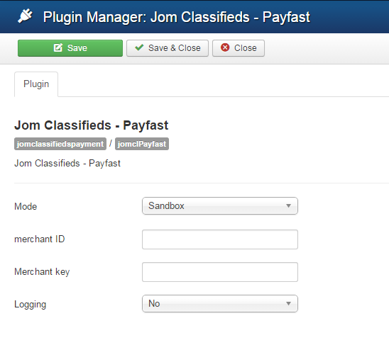 payfast plugin settings