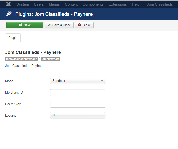 payhere plugin settings
