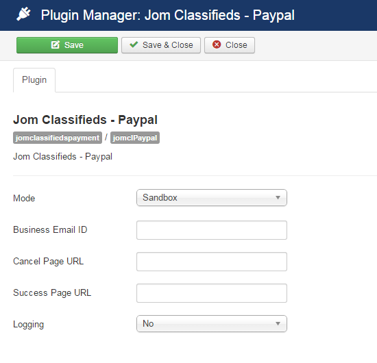 paypal plugin settings