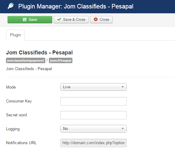 pesapal plugin settings